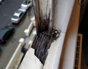 Rotten wood window